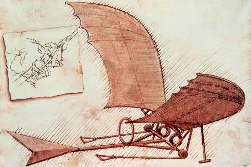 أحد التصميمات التي حاول الإنسان الطيران بها مقلداً الطيور ومستخدماً قوته العضلية